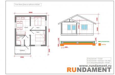 Проект мини дома из арболита 49,5м2 (Одноэтажный)